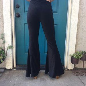 Elastic corduroy bell bottom pants
